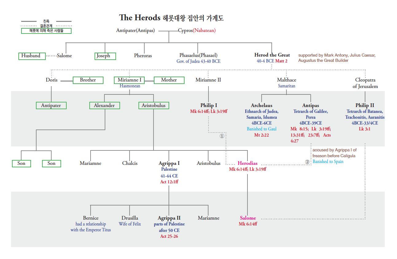 헤롯대왕(Herod The Great) 집안의 가계도