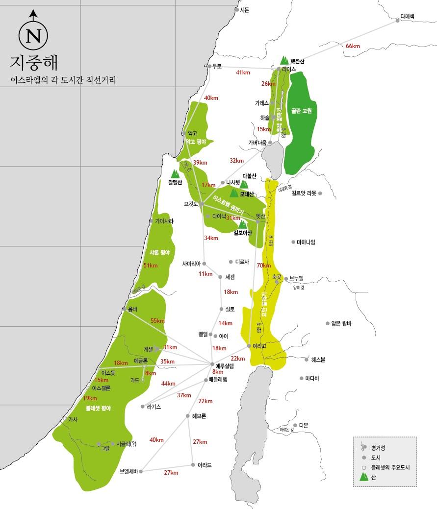 이스라엘 도시간 직선거리